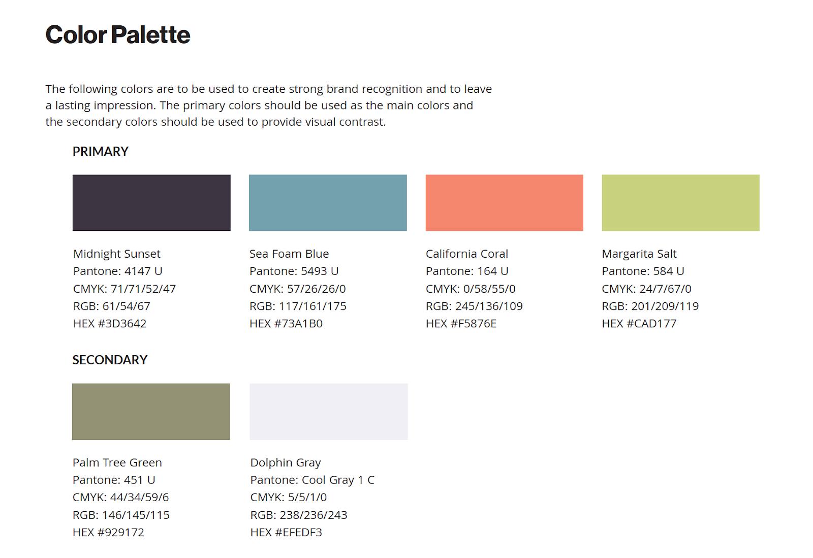 Brand Guide Color Palette