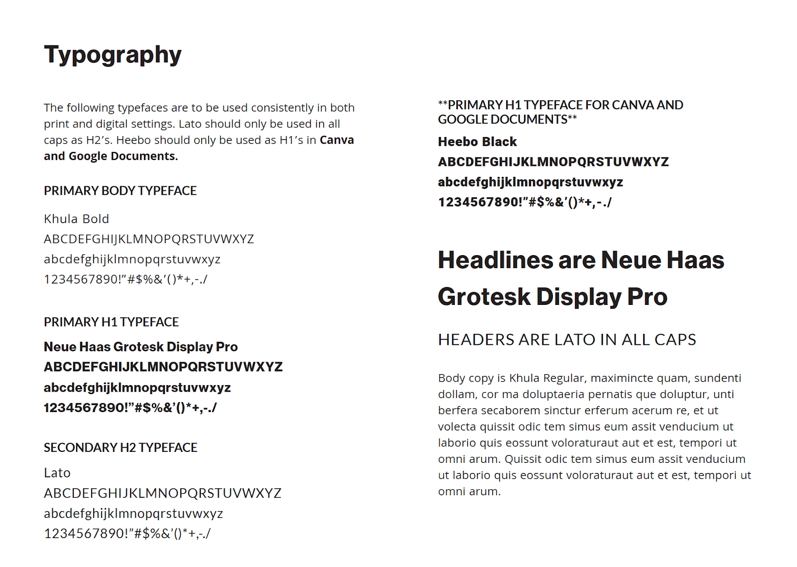 Brand Guide Typography