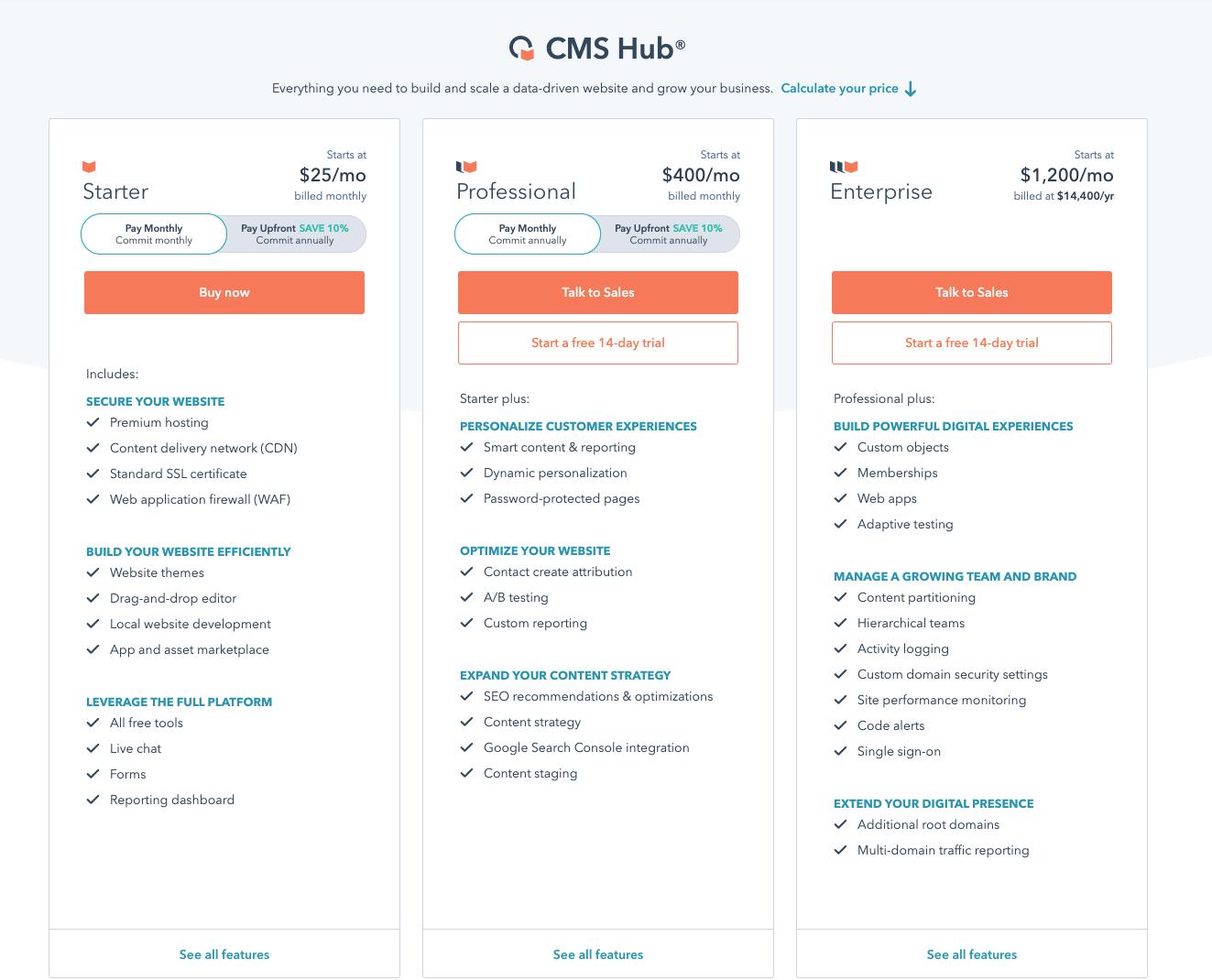 CMS Hub Price Page