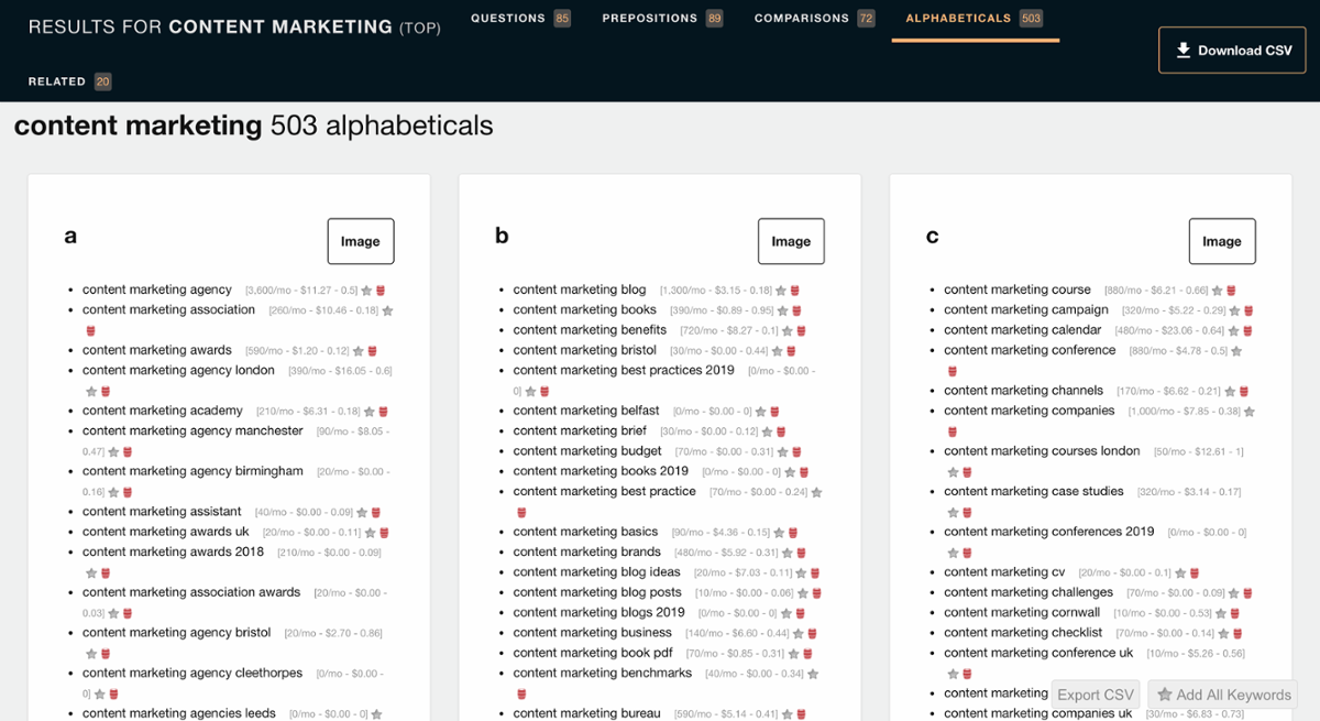 Content Marketing Search on AnswerthePublic.com | Content Marketing Strategy