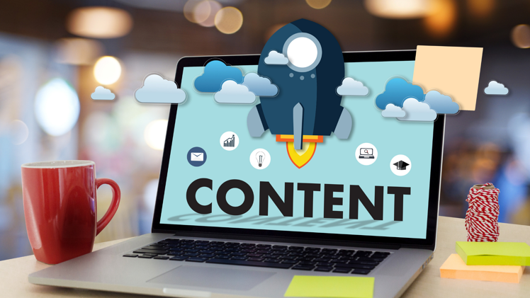 Content Marketing Strategy Tools | Laptop on Desk with Content Screen