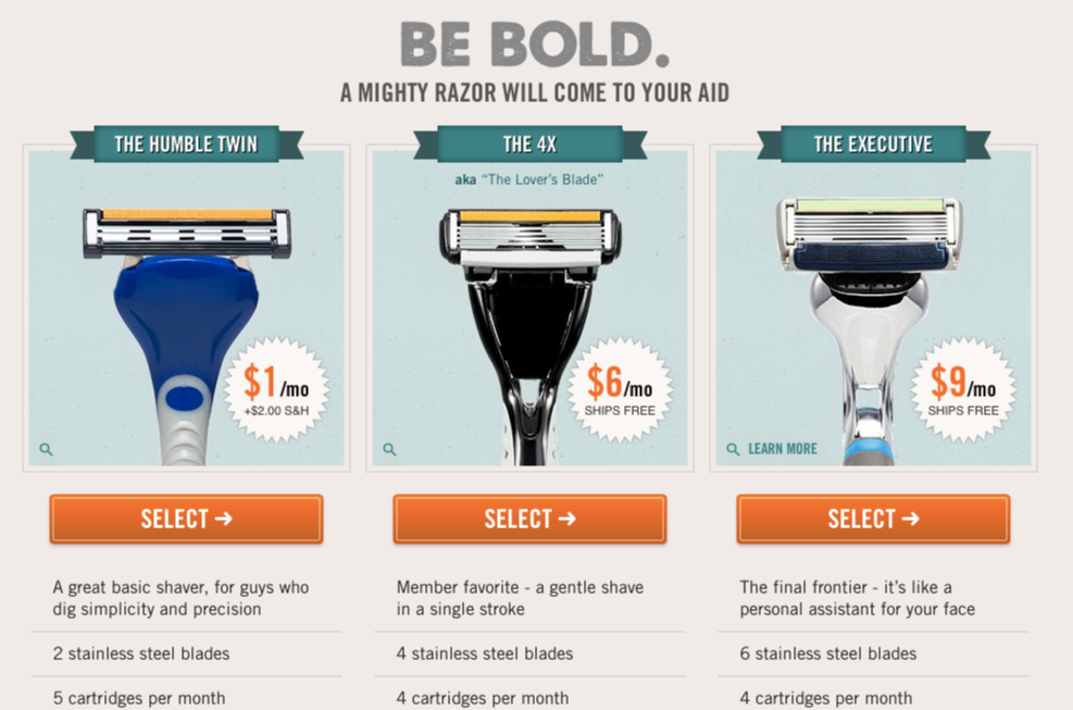 Dollar Shave Club Comparison   Upselling Example