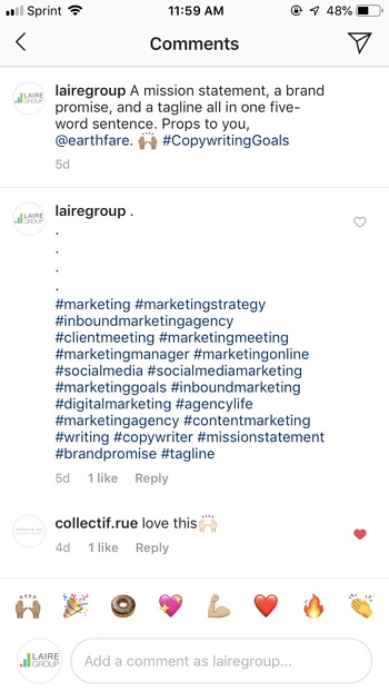 Instagram hashtags in Laire Group post