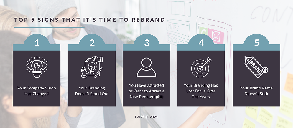 5 signs that it is time to rebrand chart with 5 key indicators
