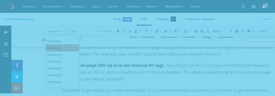 Off-Page vs On-Page SEO - H1 Tags