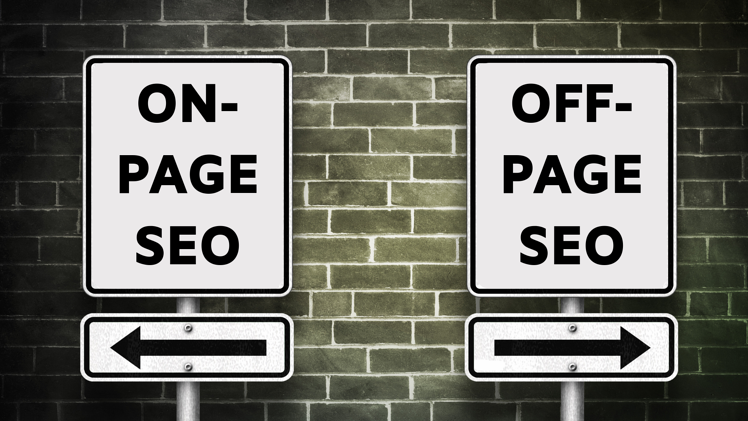 Off-Page vs. On-Page SEO | Road signs pointing opposite directions