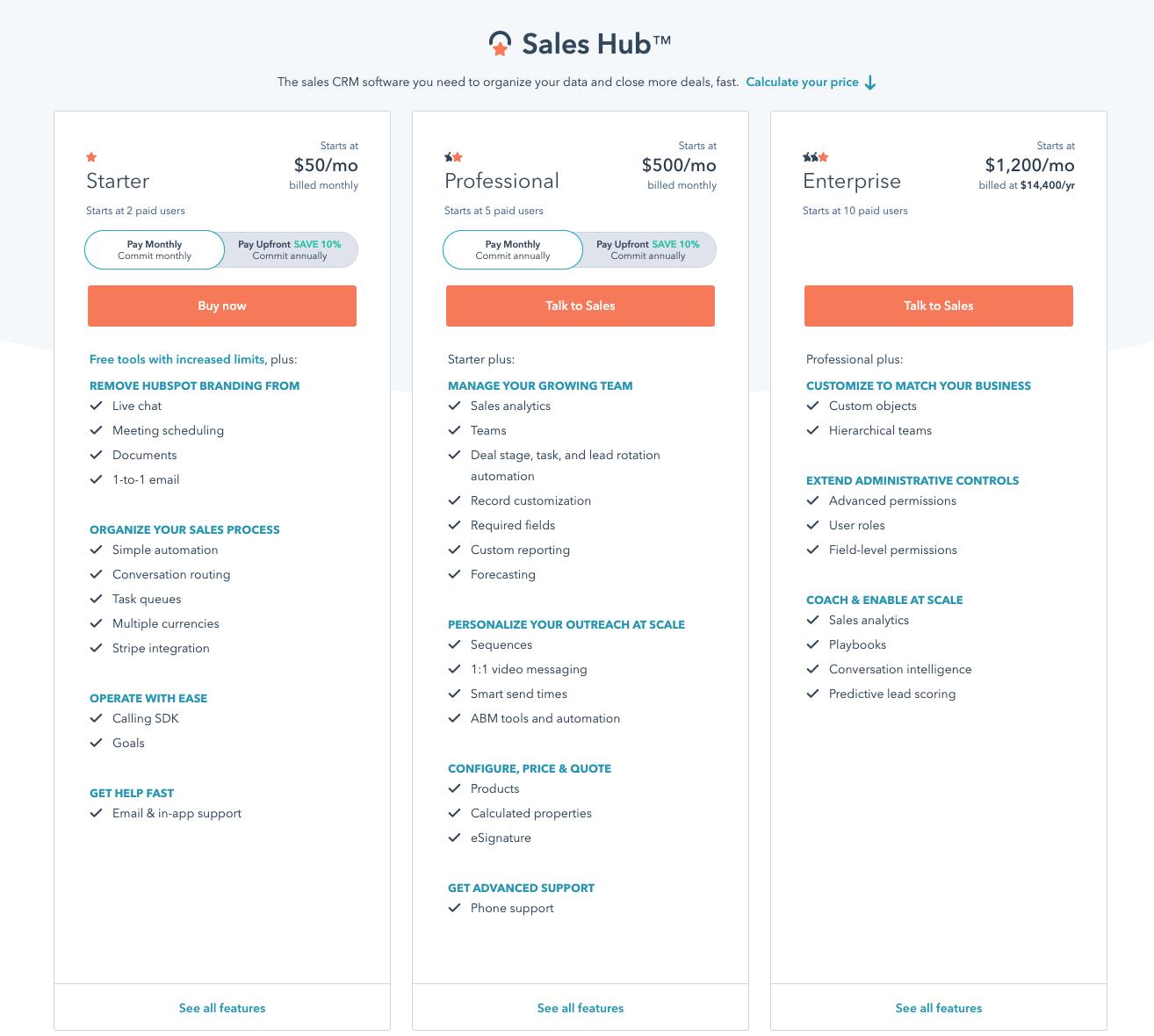 Sales Hub Price Page