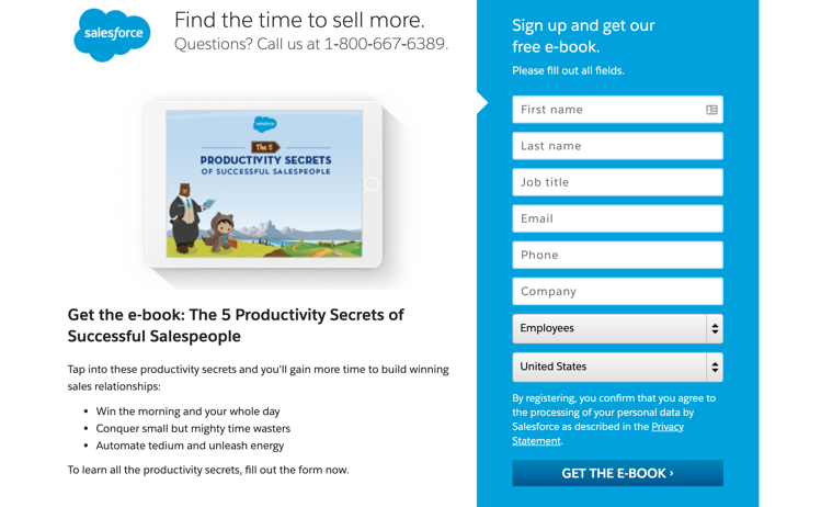 Inbound marketing example - content offer from Salesforce