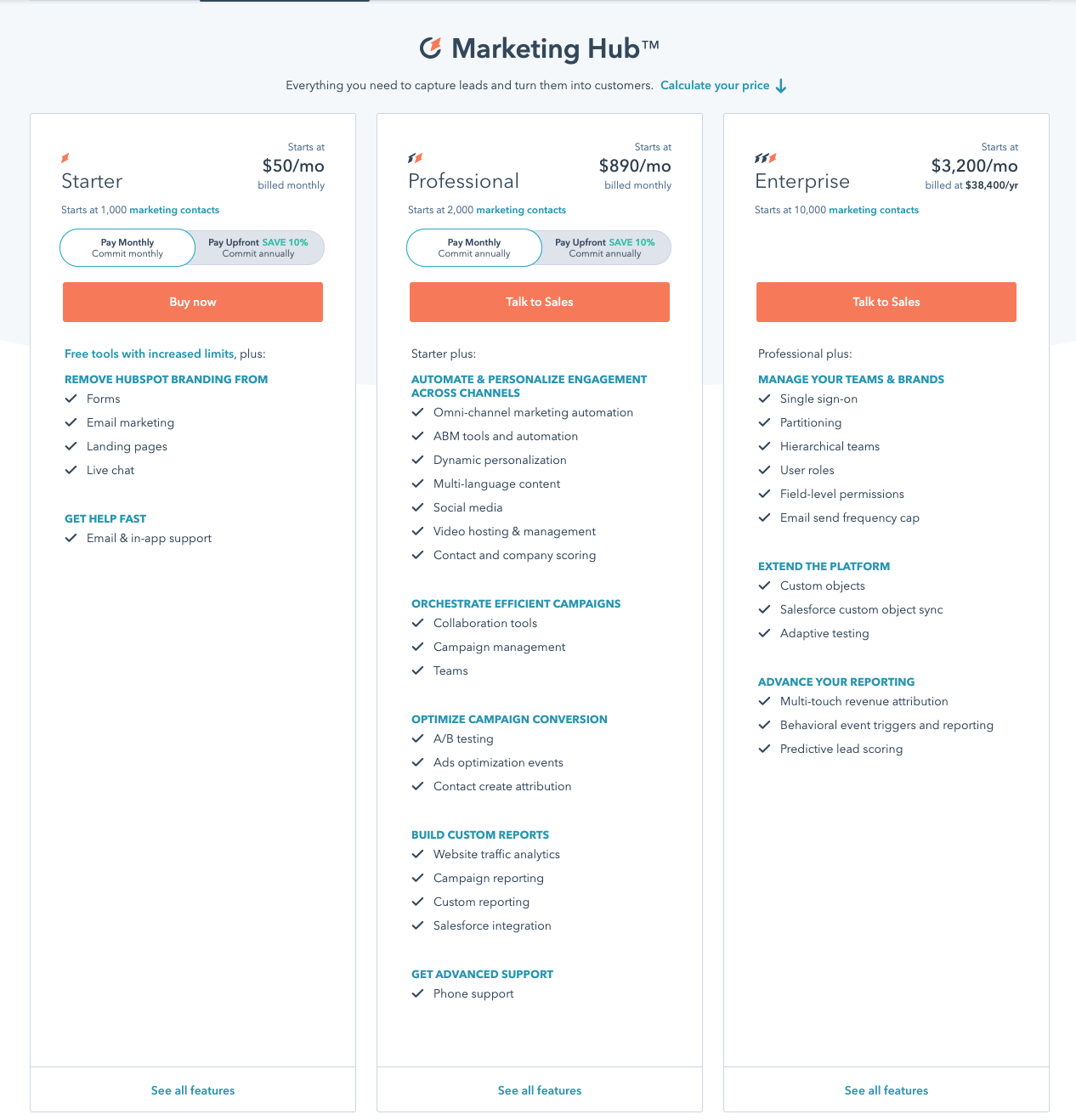 HubSpot Marketing Hub Pricing Page