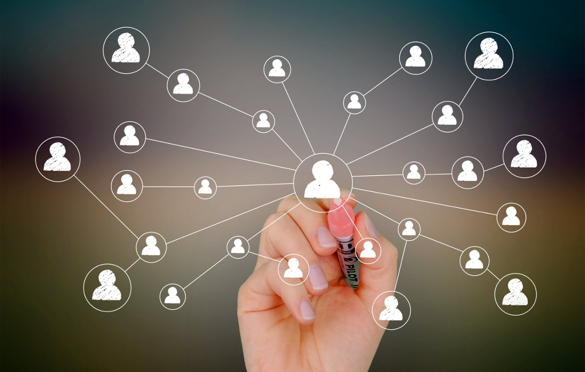 Customer relationship management (CRM) software | Drawing network of contacts on screen