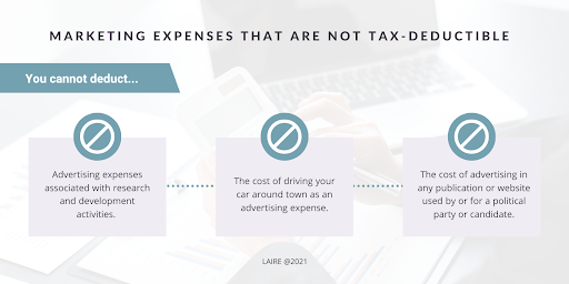 Which marketing expenses are not tax-deductible graphic